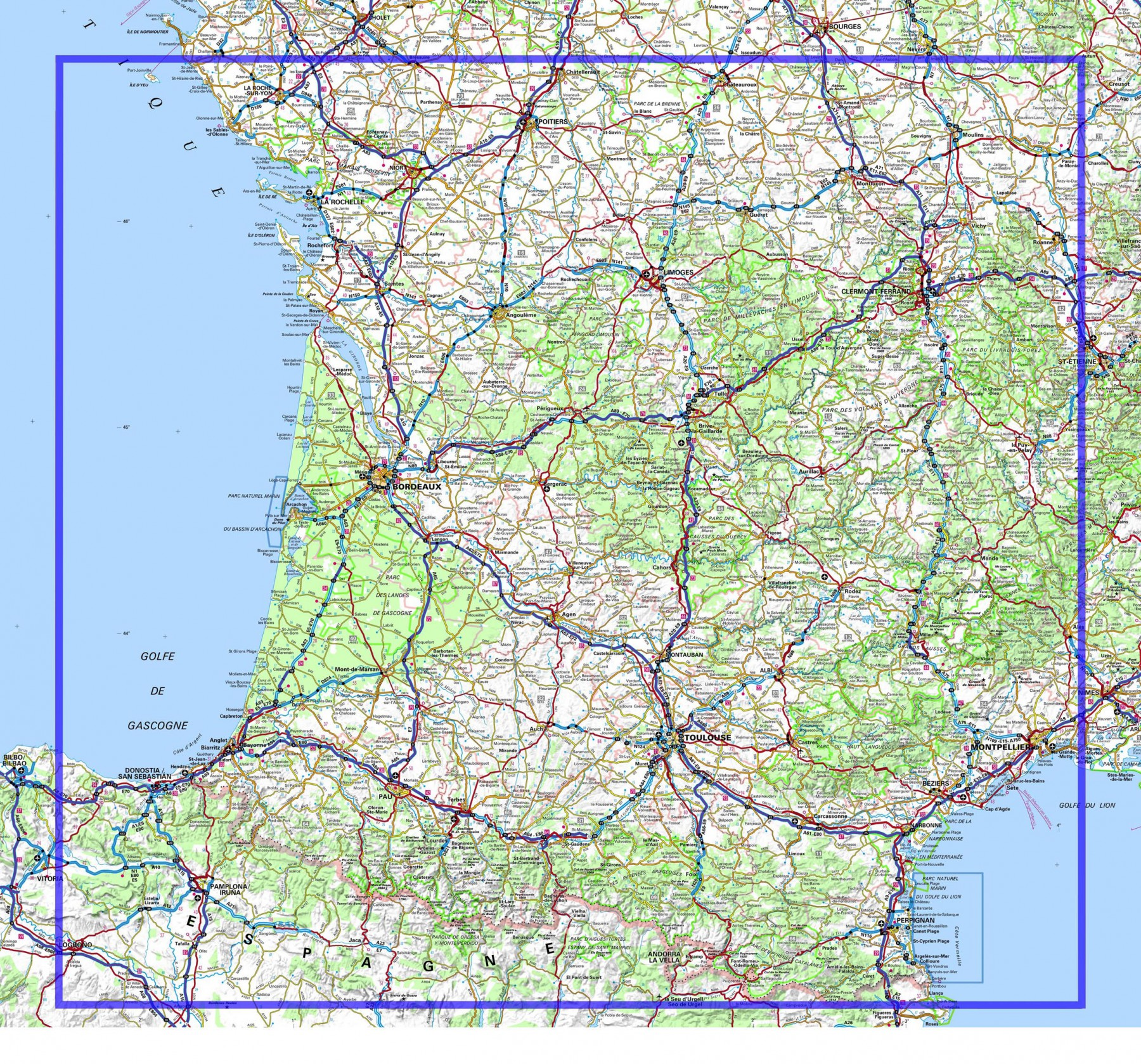 carte routiere sud ouest france