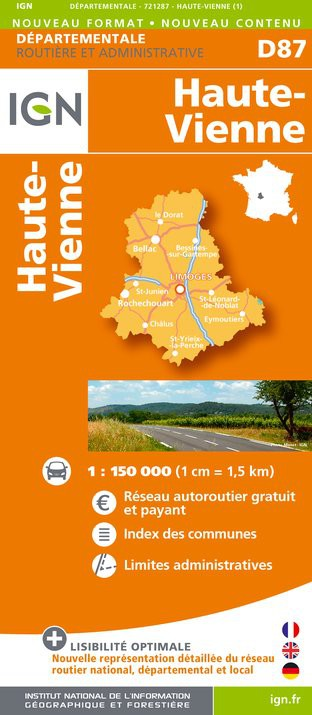 Carte routi re d partementale ign haute vienne for 87 haute vienne carte