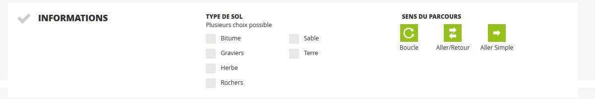 Description parcours TYPE DE SOL / SENS DU PARCOURS