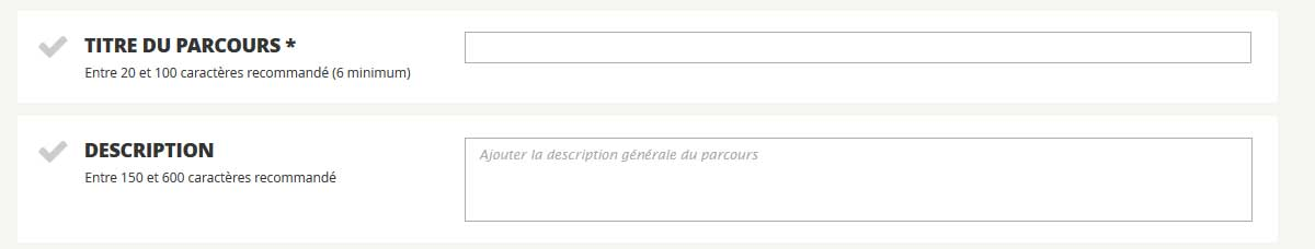 Description parcours TITRE ET DESCRIPTION